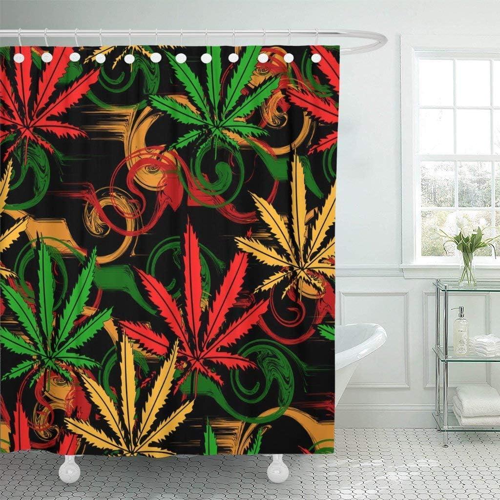 JOOCAR Cortina de ducha de diseño, verde Rasta abstracto de marihuana cannabis en colores rastafarianos, juego de decoración de baño de tela impermeable con ganchos