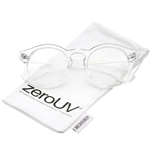 898f7d97eb3ad zeroUV - Classic Translucent Wide Temple Round Clear Lens P3 Round  Eyeglasses 50mm (Clear