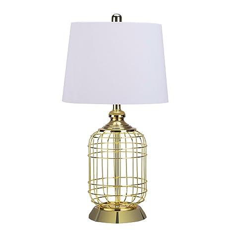 CO Z Elegant Table Lamps, Birdcage Anti Rust Gold Metal Base U0026 White