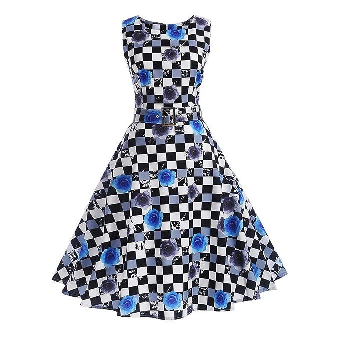 Lenfesh Las Mujeres Classy 1950s Rockabilly Hepburn Vintage Vestido De Fiesta Cóctel Pin Up Swing Vestido