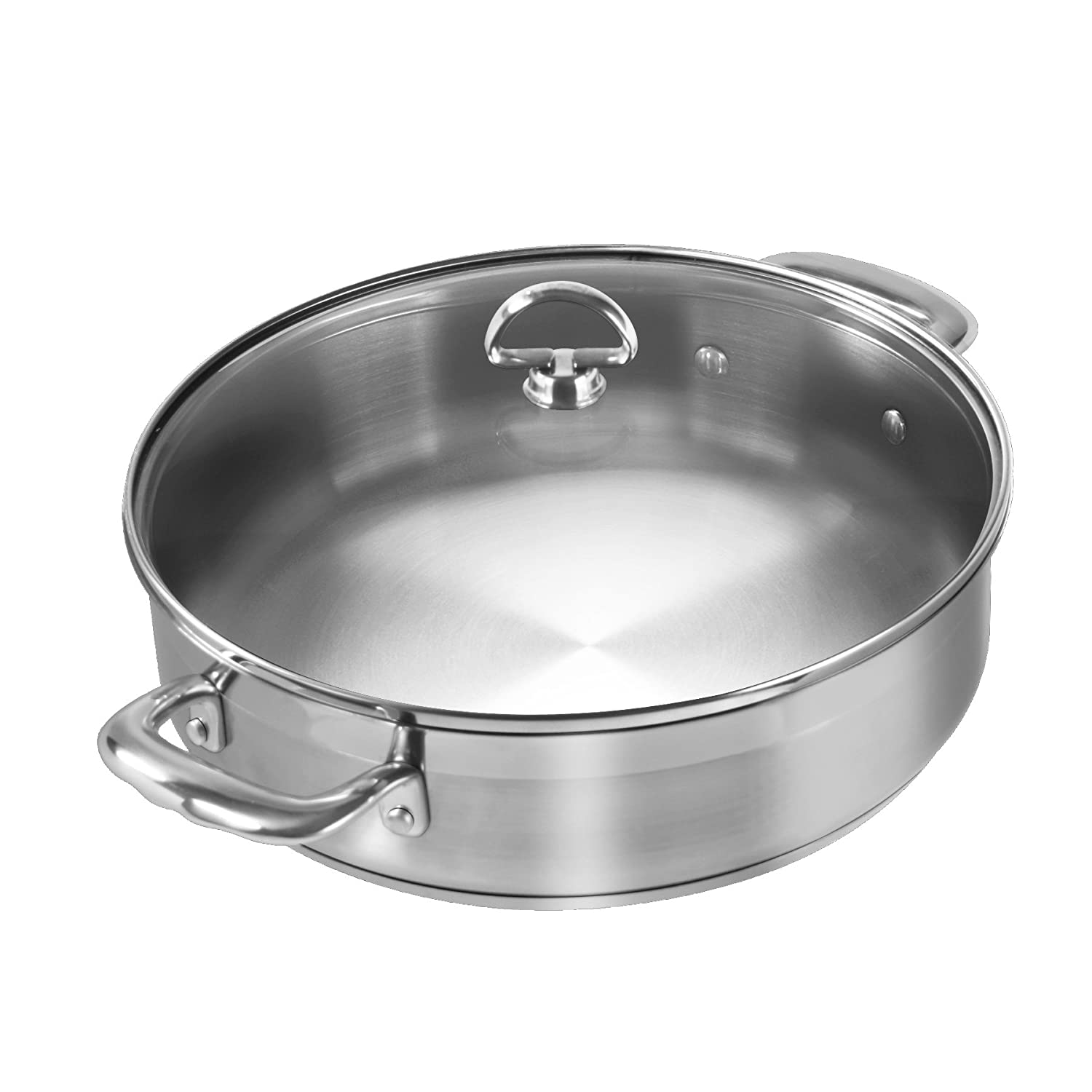 Chantal SLIN29-280 21-Steel Induction Sauteuse with Glass Lid, 5-Quart