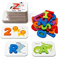 Coogam Numbers and Alphabets Flash Cards Set - ABC Wooden Letters and Numbers Animal Card Board Matching Puzzle Game…