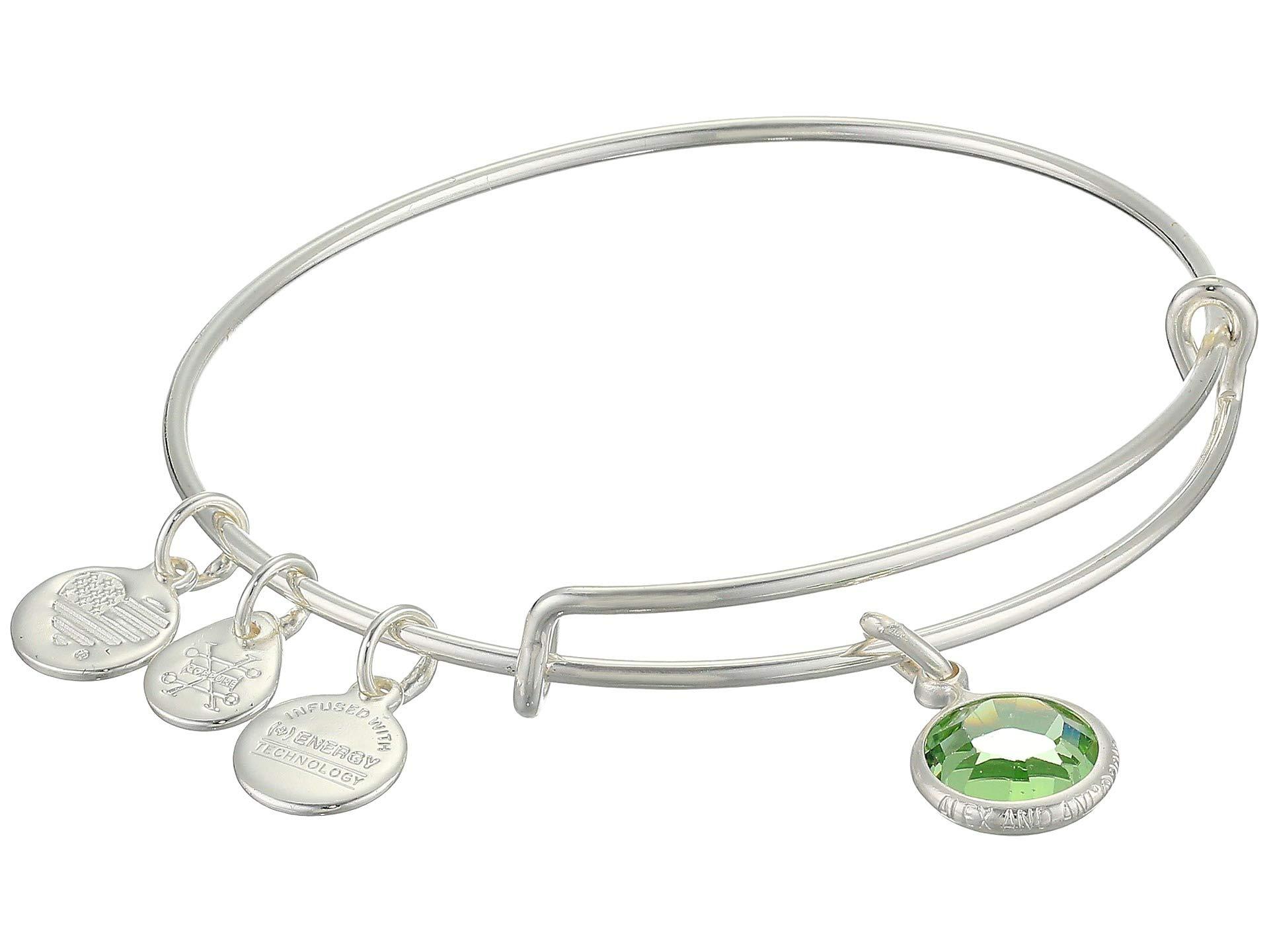Alex and Ani Women's Swarovski Color Code Bangle August Peridot Bracelet, Shiny Silver