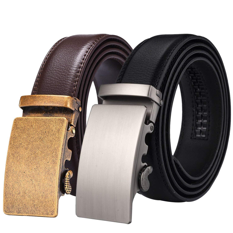 X XHtang Mens Ratchet Belt with Genuine Leather Slide Belt for men 1 3//8 inches Wide