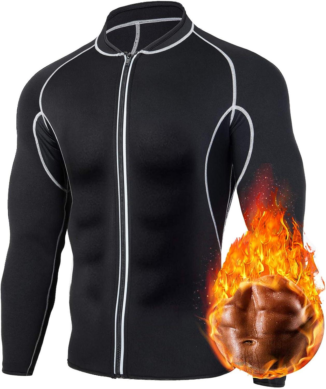 HOMETA Sweat Neoprene Sauna Shirt for Men Weight Loss Zipper Long Sleeve Sauna Suit Workout Shirt Body Shaper Fitness Jacket Gym Top