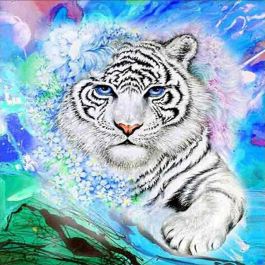 DIY 5D Diamond Painting Kit Full Drill Tiger Embroidery Cross Stitch Arts Craft Canvas Wall Decor 30x30 cm