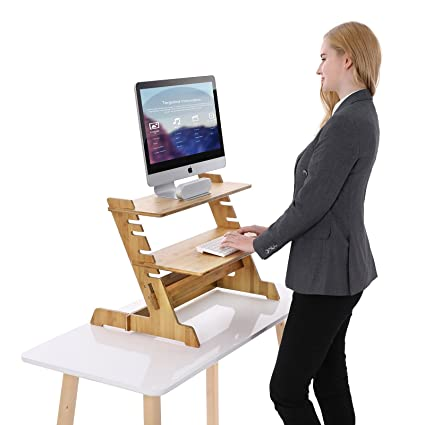 SONGMICS Bamboo Standing Computer Desk Monitor Stand Riser Stand Steady Up  Adjustable Height Desktop Laptop Workstation