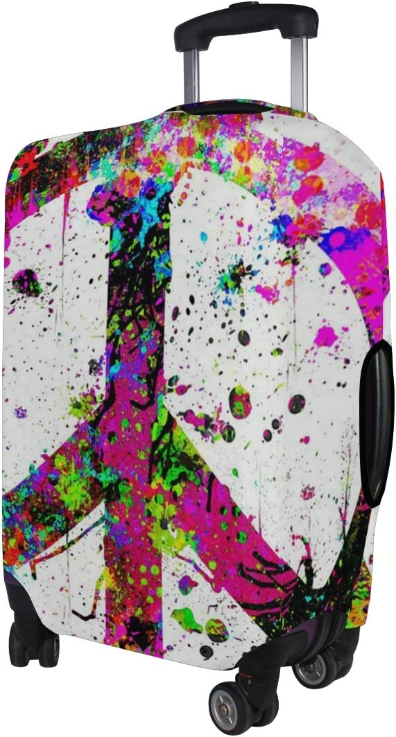 LEISISI Colorful Peace Sign Protector Cover Elastic Suitcase Cover Luggage Cover Protector XL 31-32 inch