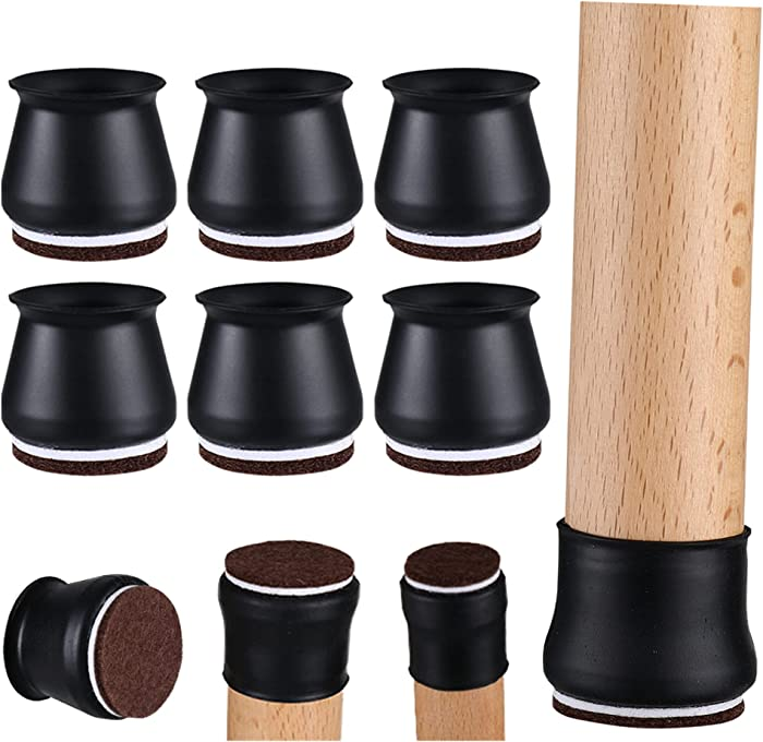 Silicone Chair Leg Floor Protectors - 32 Pcs Chair Leg Covers, Upgraded Furniture Caps with Felt Pads, Moving Furniture Quietly and Protecting Your Floors from Scratches(Black)