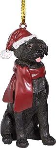 Design Toscano Black Labrador Retriever Holiday Dog Christmas Tree Ornament Xmas Decorations, 3 Inch, Full Color