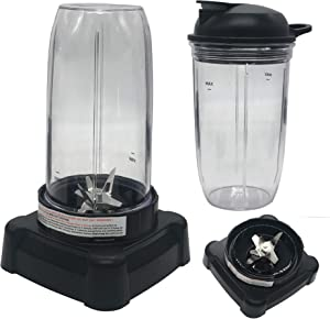 9 in 1Replacement parts update extractor blade and personal 24oz cup with to go lid for Ninja Professional 72oz Countertop Blender BL660W/BL660W/BL660/BL740/BL770/BL771/BL773CO/780 (24oz cup2)