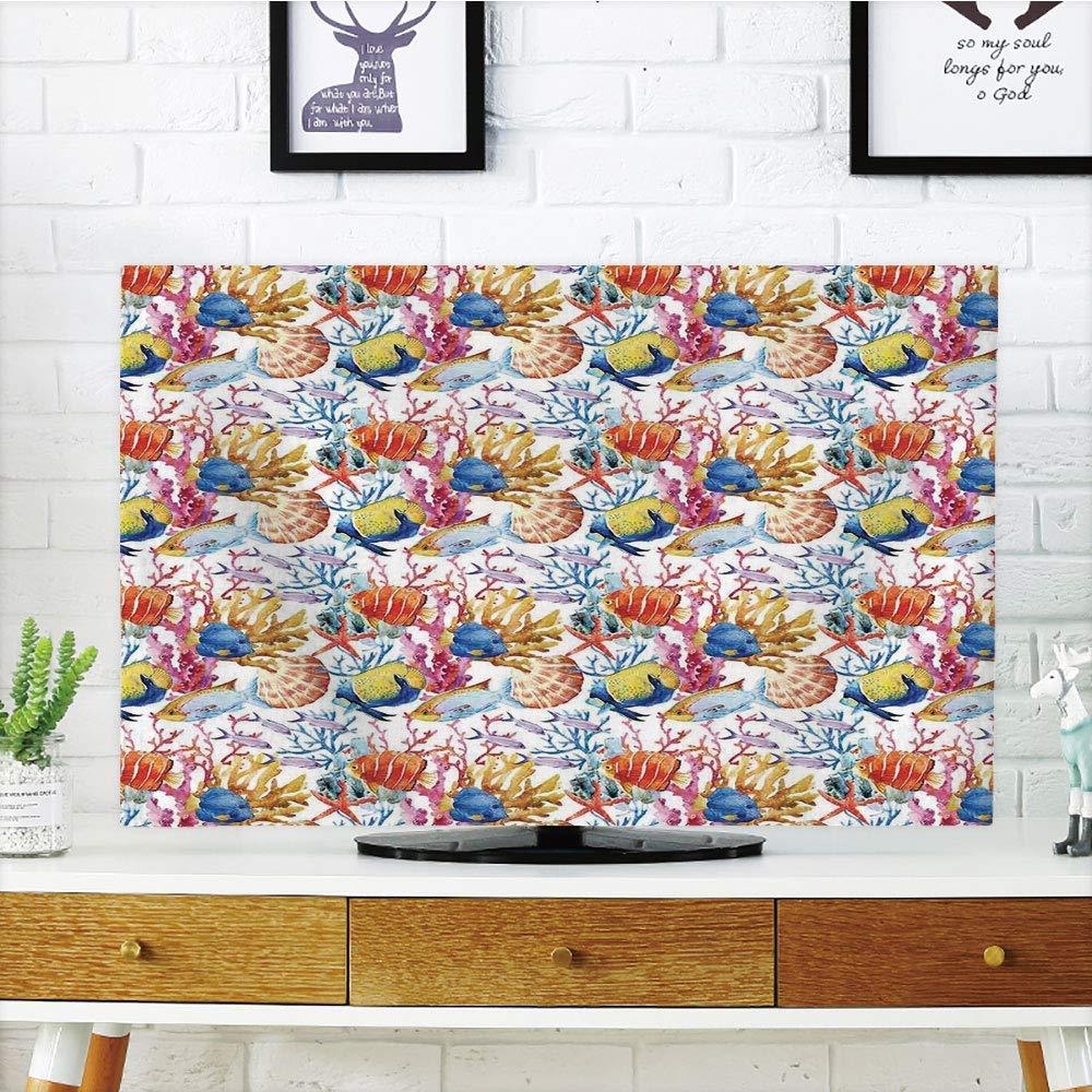 VANKINE 液晶ディスプレイテレビカバー マルチスタイル 海の動物装飾 装飾 東洋のエキゾチックな鯉 コモン鯉 穏やかな水庭のグラフィック オレンジ カスタマイズ可能なデザイン 32インチテレビに対応 TV 55