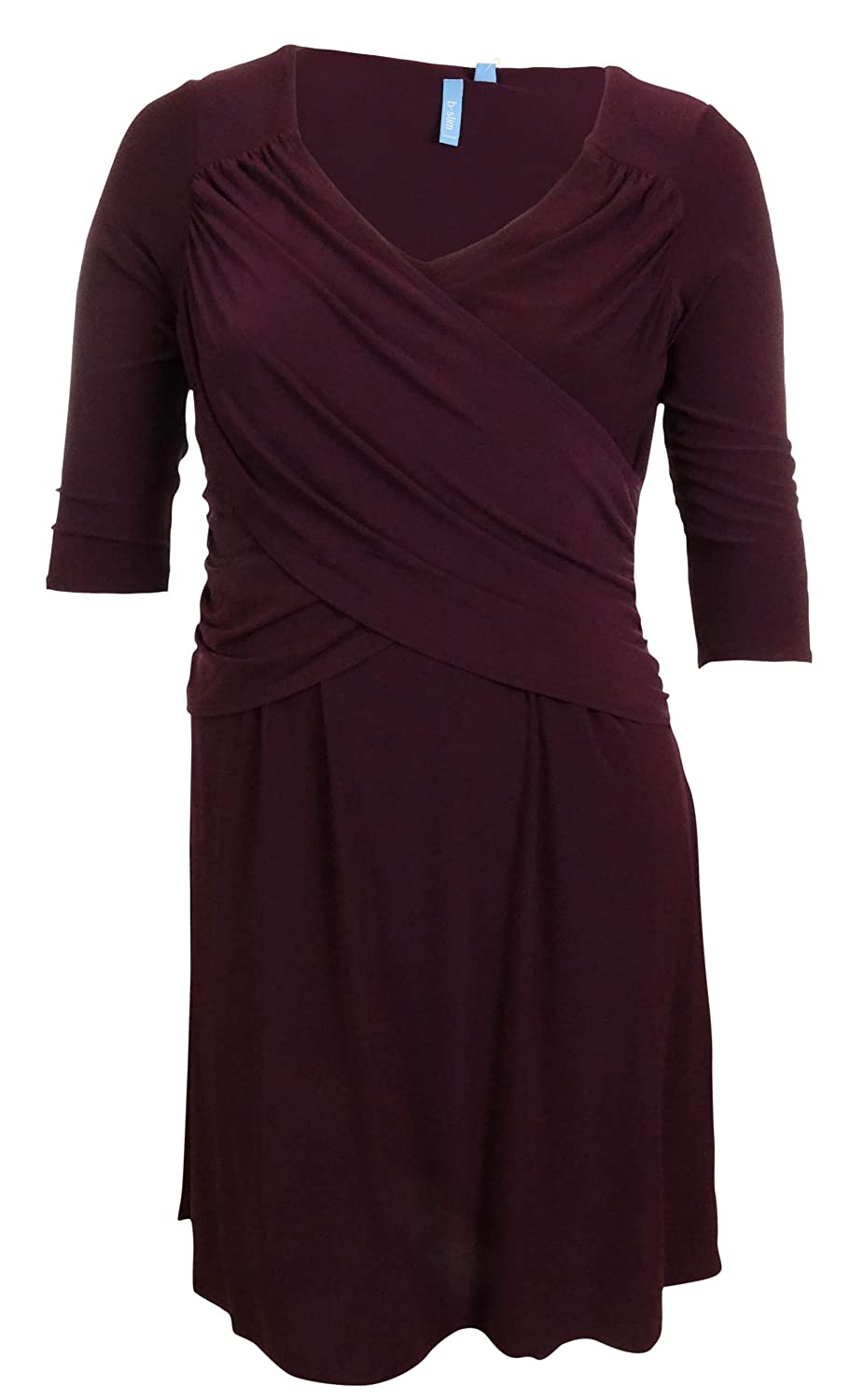 B-Slim Women's 3/4 Sleeve Solid Crossover Jersey Dress