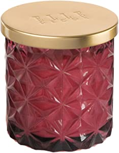 Elle Décor Embossed Glass Candle 7 Ounce-Peach and Red Currant, Burgundy