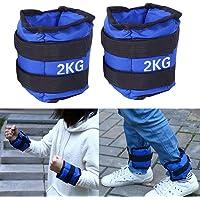 Shandian 1 par de Pesados Tobillo Pesos del Tobillo Peso 2KG sin Plomo Ajustable (1 kg * 2) Fuerza de Las piernas Ejercicio Fitness Equipment (Color : Negro)