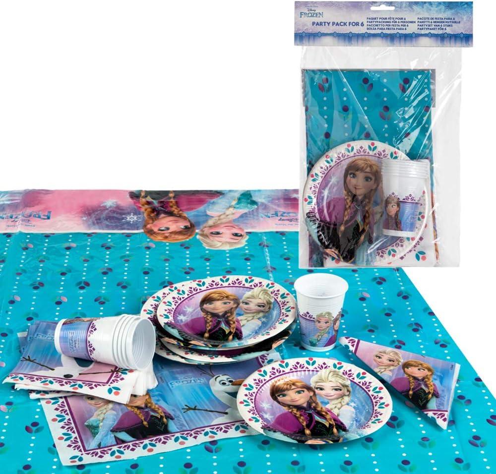 Disney - Pack de fiesta reciclable Frozen: mantel, platos, vasos, servilletas (71915)