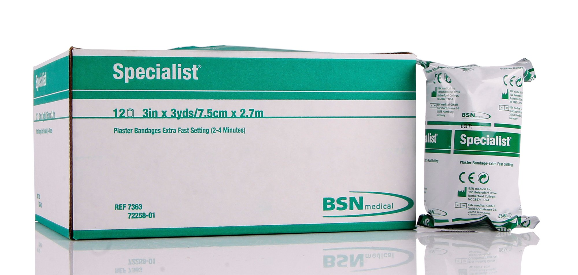 7363 Bandage Cast Specialist Plaster 3''x3yds 2-4 Min X-Fast 12/Box Part# 7363...