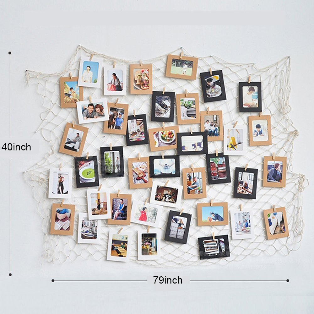 Children Bedroom Living Room Dichoso Photo Hanging Display Fish Net Wall Decorations Picture Frames Multi Photos Organizer with 40 Clips for Party Teens