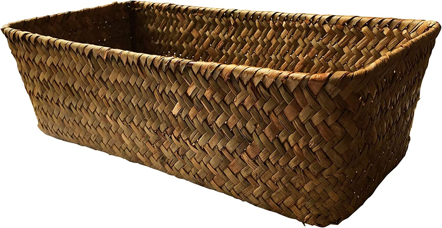 LA Hand-Woven Seagrass Storage Rectangular Basket and Home Organizer Bins,Natural Water Hyacinth Basket Small(Brown no Grid)
