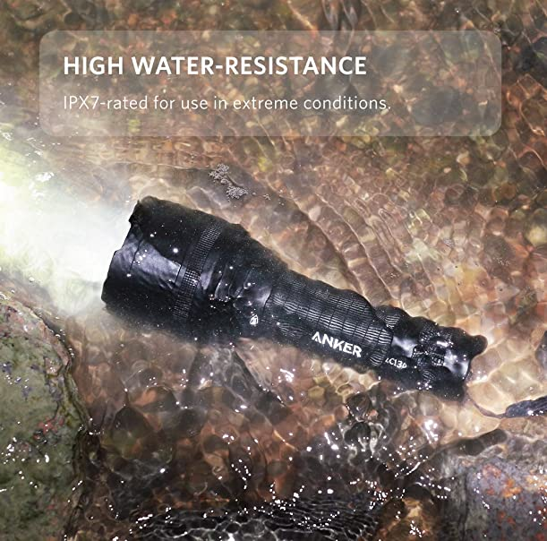 Anker Ultra-Bright Tactical Flashlight with 1300 Lumens, Rechargeable, IP67 Water-Resistant