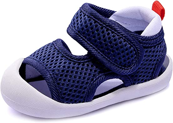 Toddler Boys Girls Unisex Baby Summer Sport Sandals Closed Toe Non-Slip Rubber Sole Pool Beach Mesh Sneakers Lightweight Outdoor Water Shoes