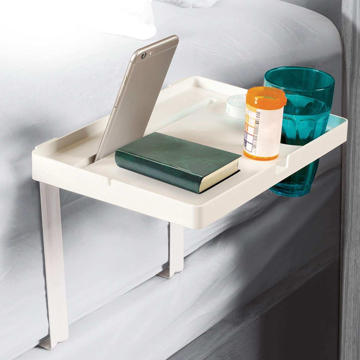 Bedside Assist Table & Organizational Shelf, Built-in Cup Holder, Cellphone Holder, Changeable Height