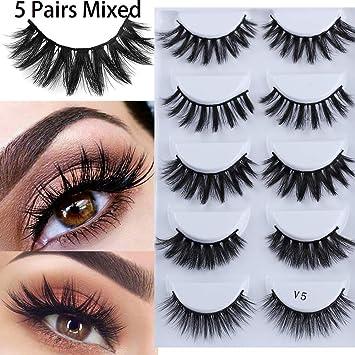 3d69cbbecf2 Mixed 3D Mink Hair False Eyelashes 5 Pairs Cross Long Thick Flutter Wispy  Natural Lashe Handmade