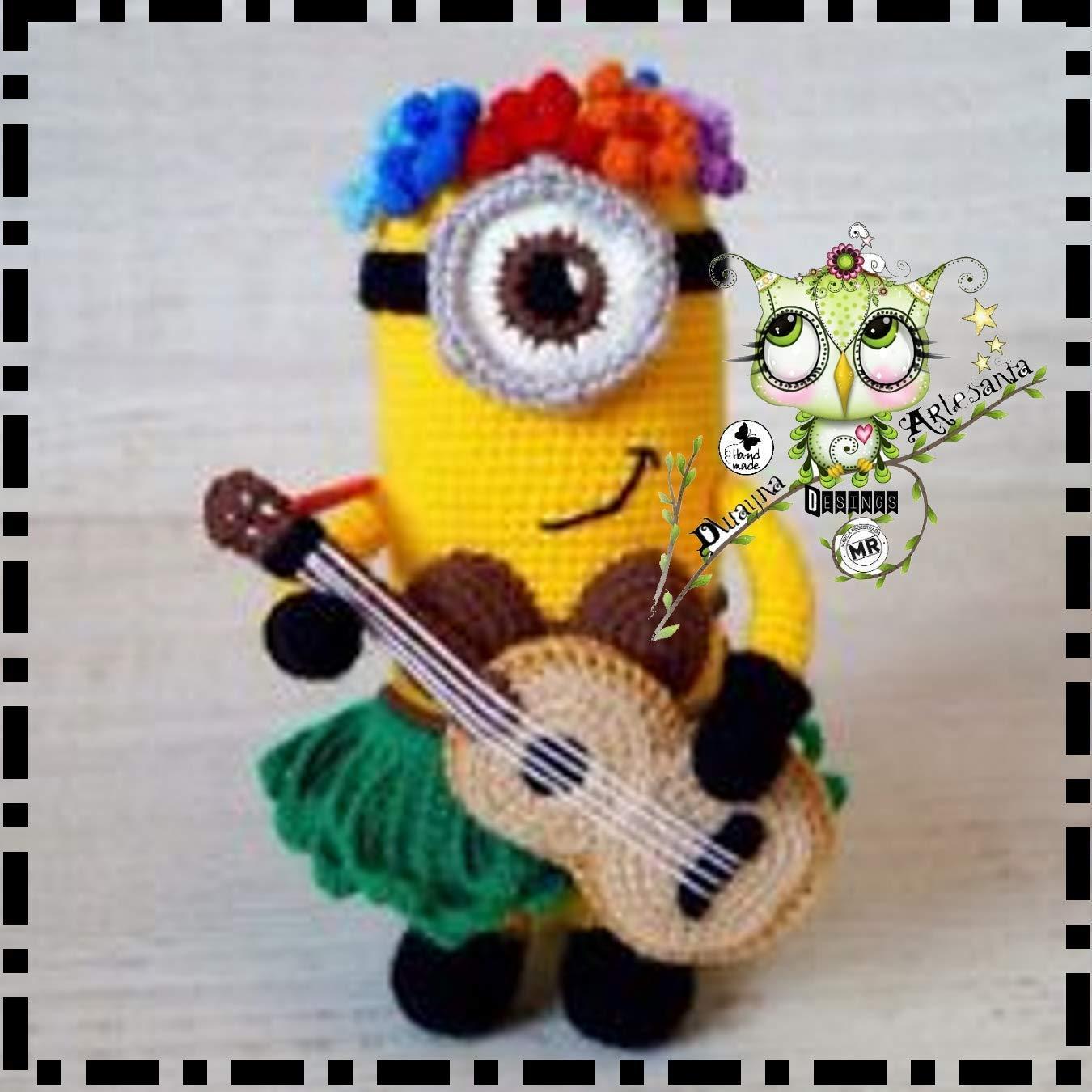 MINION HAWAIANO AMIGURUMI REYES MAGOS REGALO NAVIDAD PAPA NOEL BAUTIZO CUMPLEAÑOS EVENTOS FIESTA FANTASÍA ORIGINAL IRROMPIBLE BEBÉ CROCHET GANCHILLO MUÑECO PELUCHE NIÑO NIÑA LANA haway guitarra