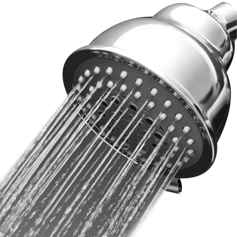 Adjustable Shower Head 5 Spray Setting Flow Restrictor Water Saving Meetyoo Bathroom Spa Powerful Rainfall Shower Head Shower head 4 inch High Pressure High flow Fixed Shower Head
