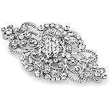 Mariell Vintage Bridal Crystal Brooch Pin - Top Selling Antique Silver Rhinestone Wedding & Fashion Glam