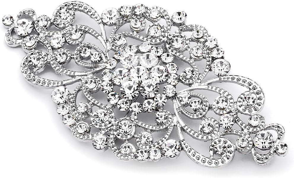 Vintage Bridal Crystal Brooch Pin - Top Selling Antique Silver Rhinestone  Wedding & Fashion Glam