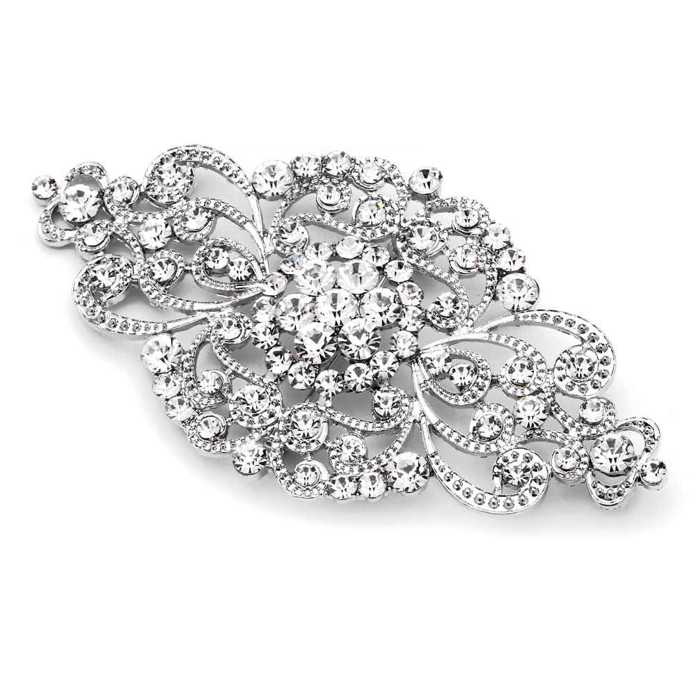 Mariell Vintage Bridal Crystal Brooch Pin - Top Selling Antique Silver Rhinestone Wedding & Fashion Glam 4574P-S