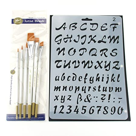 Xiujuan stencil and brush set letter alphabet number flower plastic xiujuan stencil and brush set letter alphabet number flower plastic painting templates for children oil watercolor spiritdancerdesigns Image collections