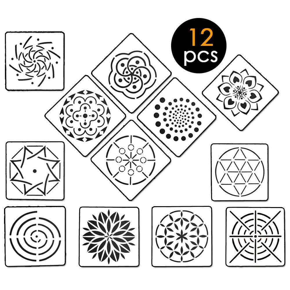 20Pcs Mandala Dotting Tools for Painting Rocks, 7Pcs Mandala Dotting Stencils Template Set + 8Pcs Acrylic Rods + 5Pcs Ball Stylus Dotting Tools by BAISDY (20Pcs)