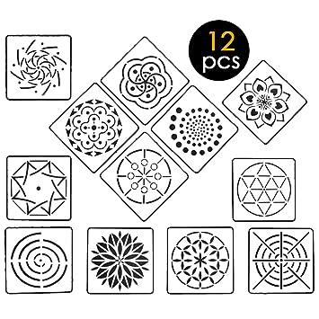 Amazon Com 12pcs Mandala Dotting Stencils Mandala Stencils Template
