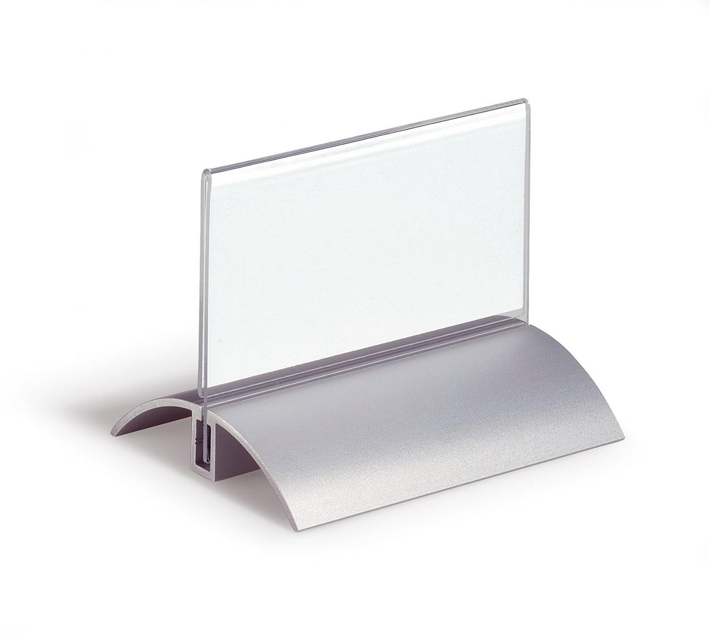 DURABLE 820019 - Desk Presenter De Luxe, portanome da tavolo, tenuta sicura del pannello, 52/104x100 mm, trasparente, confezione da 2 pezzi