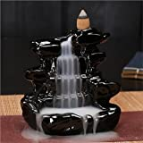 eCraftIndia Dropping Fountain Design Smoke Backflow Cone Decorative Incense Holder (7 cm x 7 cm x 12, Black)