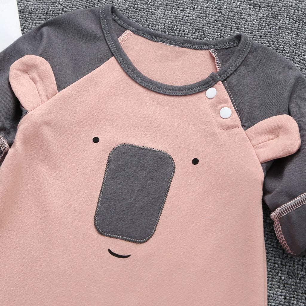 Unisex Elephant Bear Long Sleeve Stripe Romper Jumper WOCACHI Baby Jumpsuit