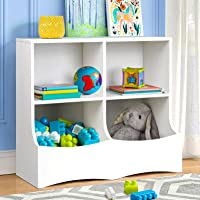Toy Storage Organizer with Bookshelf, Playroom Storage and Kids Bookcase for Books Toys 4 Cubby Toy Storage Cabinet for…