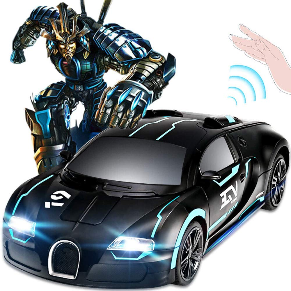 BSEION Bugatti 360 Degree Rotary Deformation Remote Control Vehicle Gesture Sensing One-Click Dancing Lighting Music Car Wireless Charging Racing Toy Car Black and Blue