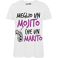 CHEMAGLIETTE! T-Shirt Divertente Donna Maglia Addio al Nubilato Meglio Un Mojito Che Un Marito Tuned