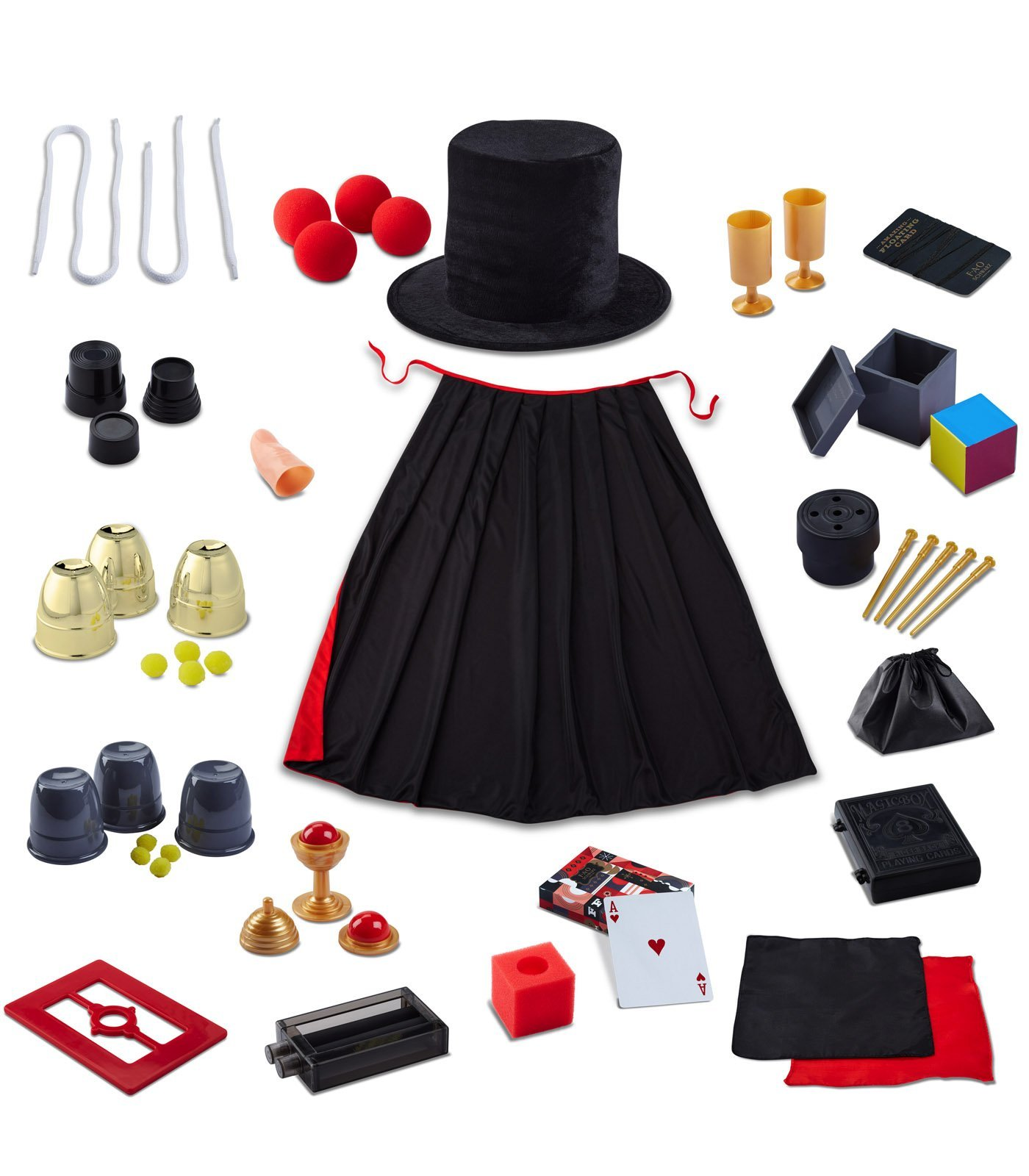 FAO SCHWARZ Premium Magic Trick Set 39 Piece - 300 Trick Magician's Bundle For Children - Includes Card Decks, Coin Tricks, Handkerchiefs, Top Hat, Cape, & More - Gift Idea for Kids Ages 8+ by FAO Schwarz