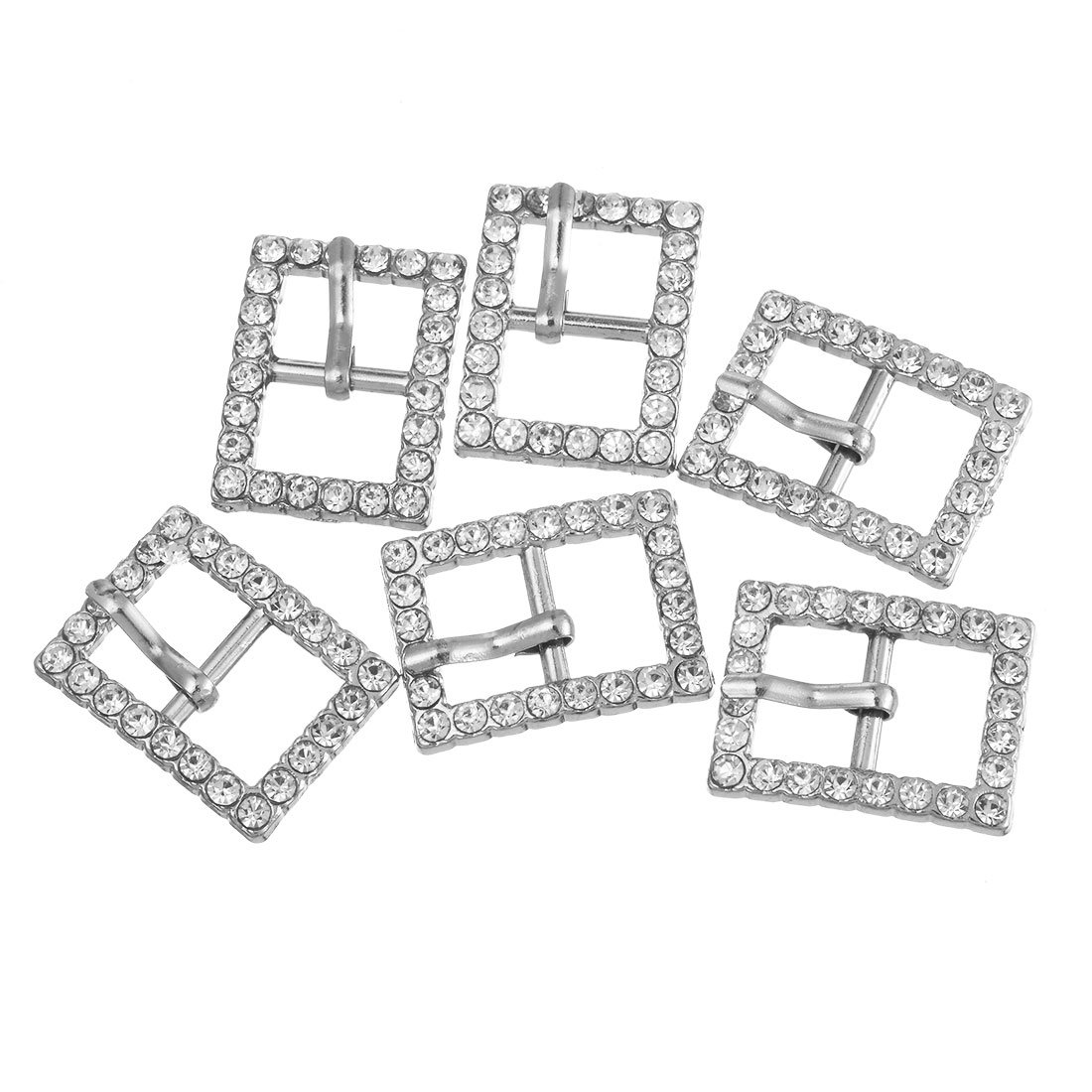 Souarts Silver Tone Color Rectangle Rhinestone Shoe Buckle Accessory Findings Pack of 10pcs