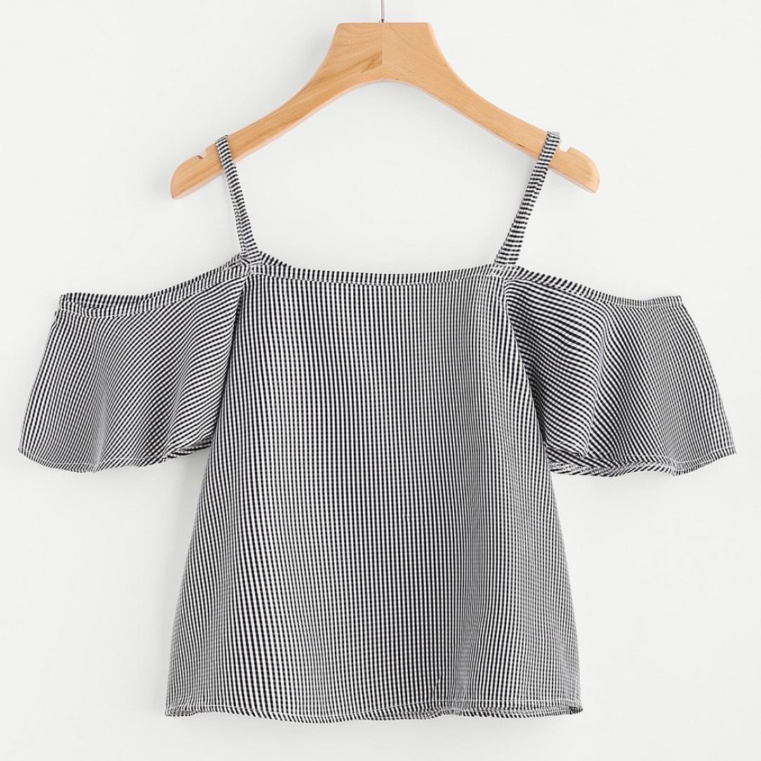 1c0c5f1d4dde8 Amazon.com  UONQD Woman Women Summer Pinstripe Blouse Cold Shoulder Top   Clothing