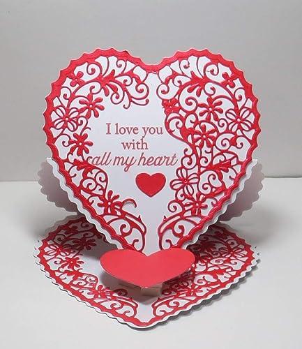 Amazon handmade red pearl white i love you with all my heart handmade red pearl white i love you with all my heart heart shaped easel greeting m4hsunfo