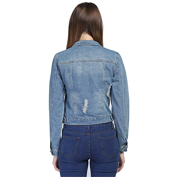 Batsomer Denim Vintage Jacket Women New Long Sleeve Hole Short Jeans Jacket Chaquetas Mujer Blue M at Amazon Womens Coats Shop