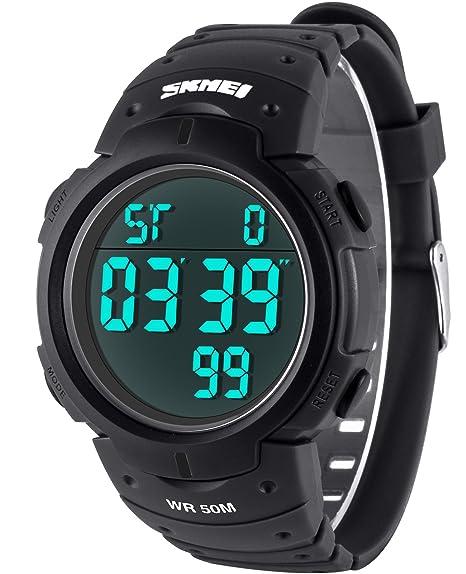 Vemupohal Hombres Militares del reloj Digital DEPORTE AL AIRE LIBRE impermeable gran Dial relojes para hombres con de goma de la pulsera: Amazon.es: Relojes