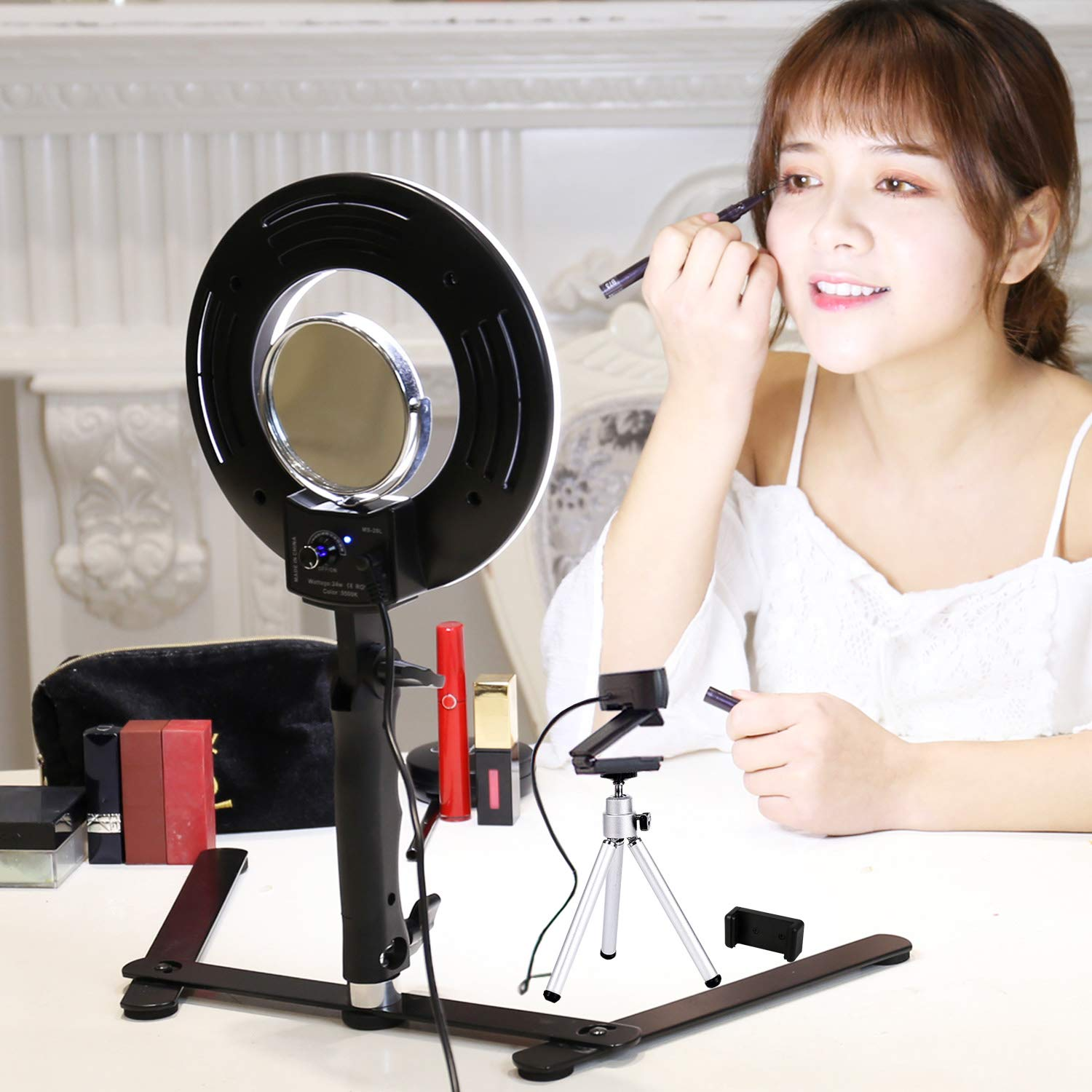 Table Top LED Selfie Ring Light with Stand for Makeup 8-inch Dimmable 24W 5500K O Circular Beauty Lamp with Bracket+3.5'' Mirror+Mini Tripod+Phone Clamp,for YouTube Vine Self-Portrait Video Photography by Konseen