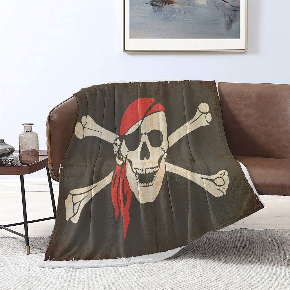 jecycleus Pirate Luxury Special Grade Blanket Flag of Tierra del Fuego Argentina in Grunge Antique Historical Multi-Purpose use for Sofas etc. W60 x L50 Inch Army Green Beige Vermilion