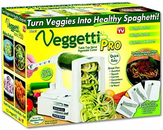 Amazon Com Veggetti Pro Table Top Spiralizer Slicer Cut Vegetables Spiral Slicer Comes With 3 Interchangeable Stainless Steel Blades Into Healthy Spaghetti Kitchen Dining